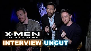 X-Men Days of Future Past Interview! Jackman photobombs Fassbender & McAvoy! – Beyond The Trailer