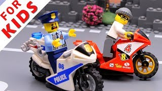 Police car and Motobike . Lego City Police Chase Animation  video for kids