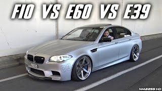 BMW M5 F10 vs. E60 vs. E39 Exhaust SOUND Comparison! - Revs & Accelerations!