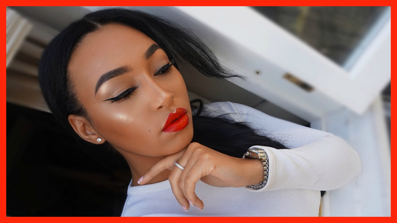 BOLD RED LIPS + WINGED EYE LINER SONIA X FYZA INSPIRED (TUTORIAL) | LLETITIA ONLINE