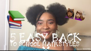 5 easy natural hair style for back to school/tutorial/ deeh's makeup