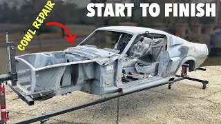 Cowl Repair START to FINISH - 1967 Mustang Fastback Shelby GT500 - Replica Tribute Project Build