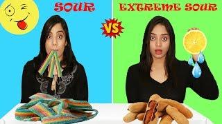 SOUR VS EXTREME SOUR FOOD CHALLENGE | Life Shots