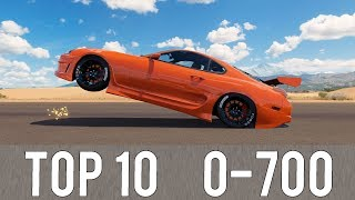 Forza Horizon 3 - TOP 10 FASTEST 0-700 CARS! CRAZY ACCELERATIONS!