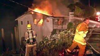 Raw Video: Highway 1 Crash and House Fire Near Bodega Bay