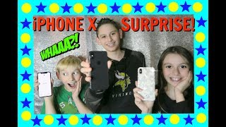 📲WE SURPRISE 3 KIDS WITH THE iPHONE X!!!🎉First Day TV😆