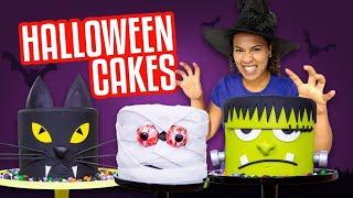 HALLOWEEN CAKES!! SPOOKY Frankenstein, Mummy, Black Cat HEADS 🎃 | How To Cake It