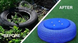 Napravite sjajan tabure za dvorište od automobilske gume (VIDEO)