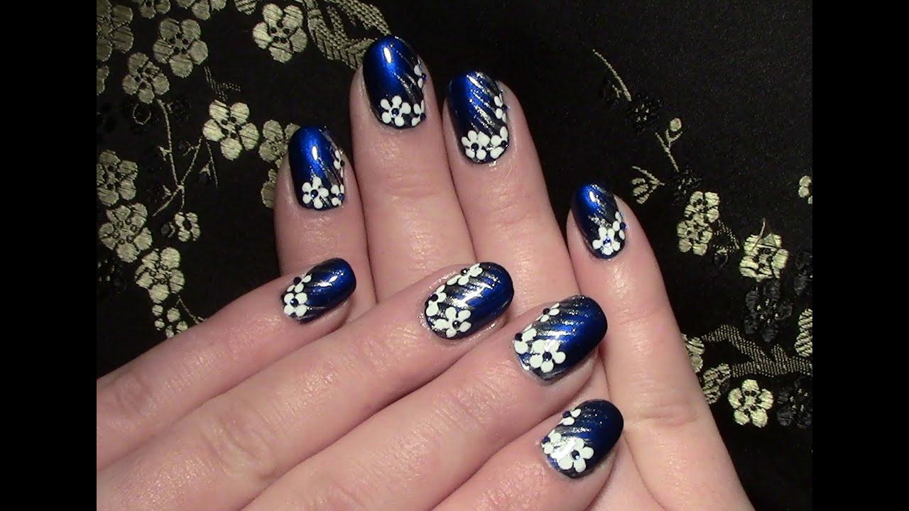 nageldesign blumen f r kurze n gel zum selber machen winter nail design fingern gel. Black Bedroom Furniture Sets. Home Design Ideas