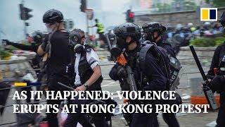 As it happened: violence erupts at Hong Kong protest