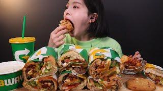 SUB)써브웨이 샌드위치 3종 먹방 🌯 사이드로 웨지감자, 스프, 쿠키까지 ! 리얼사운드 Subway Sandwich Mukbang ASMR