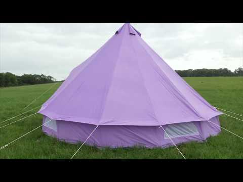 Boutique Camping 5 Meter Pastelllilanes Rundzelt mit Reißverschluss-Bodenplane Poly-Baumwollzelt