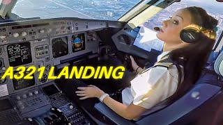 Beautiful FEMALE PILOT LANDING Airbus A321 Passenger Jet  ► ►Cockpit View!!
