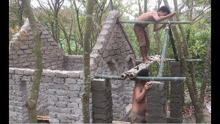 Primitive technology with survival skills Wilderness build house Roman part 7