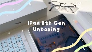 iPad 8th generation UNBOXING 2021 🍎+ accessories (relaxing asmr w/ music ☁️✨)