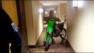 SNEAKING 3 DIRT BIKES IN OUR HOTEL ROOM!
