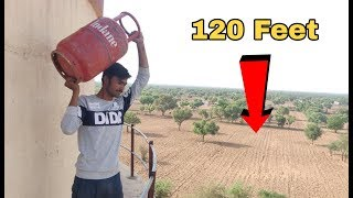 Dropping Gas Cylinder From 120 Feet Height || Gas Cylinder vs 120 Feet Water Tank || Experiment King