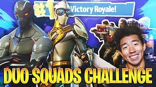 DUOS VS SQUADS CHALLENGE! KAYKAYES & LOGAN! Fortnite Battle Royale!