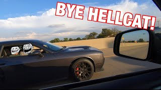 TWO KIDS IN A HELLCAT WANTED TO RACE MY 900WHP TRACKHAWK!!!