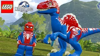 HOMEM-ARANHA TRAJE PS4 E SEUS DINOSSAUROS no LEGO Jurassic World Criando Dinossauros #61