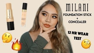 NEW MILANI CONCEAL + PERFECT FOUNDATION STICK & CONCEALER | 12 HR WEAR TEST & REVIEW