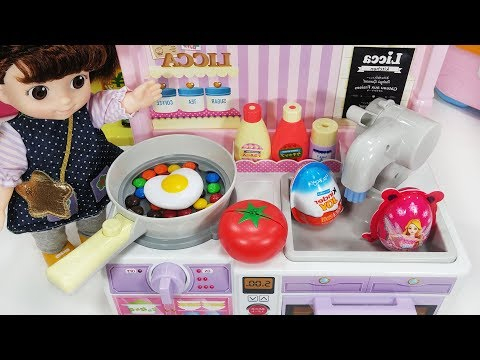Baby Doll Kitchen and surprise eggs cooking food toys with pororo play - 토이몽
