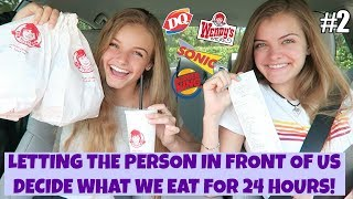 Letting the Person In Front of Us Decide What We Eat for 24 Hours Part 2 ~ Jacy and Kacy