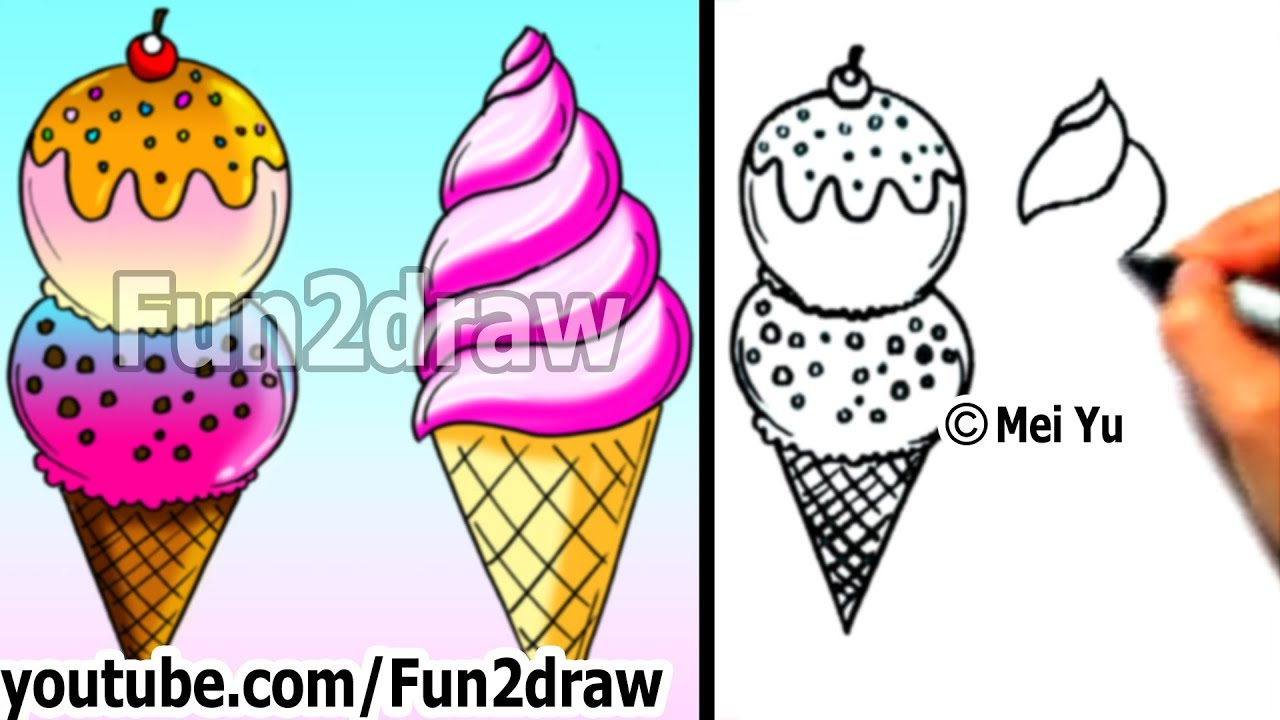 Art Lessons How To Draw An Ice Cream 2 Yummy Ways