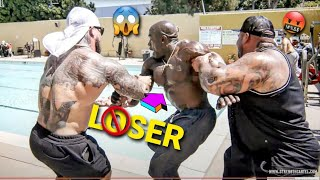 BENCH PRESS CHALLENGE - LOSER THROWN IN THE POOL | BIG BOY, KALI MUSCLE & JOEY STAX