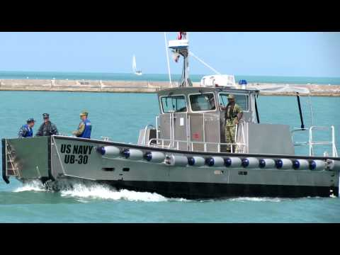 U.S. Navy MPFUB boats from FFG-45 moor at Navy Pier 08.14 ...