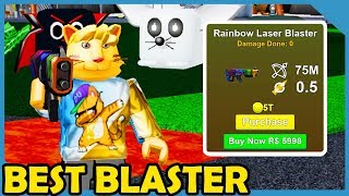 Buying The Max Power Rainbow Laser Blaster In Roblox Pew Pew Simulator