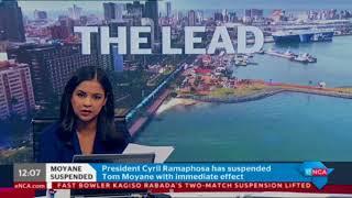eNCA's Xoli Mngambi reports on Tom Moyane's suspension