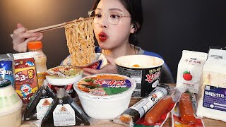 SUB)편의점 음식 먹방 ! 불닭볶음면 육개장컵라면 삼각김밥 숯불후랑크 샌드위치 꿀조합 Flex하기✨ convenience store food mukbang ASMR