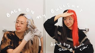 bleaching my overgrown roots & dying my hair RED | split dye transformation