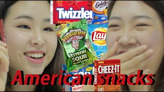 Korean girls taste American snacks (ENG sub)