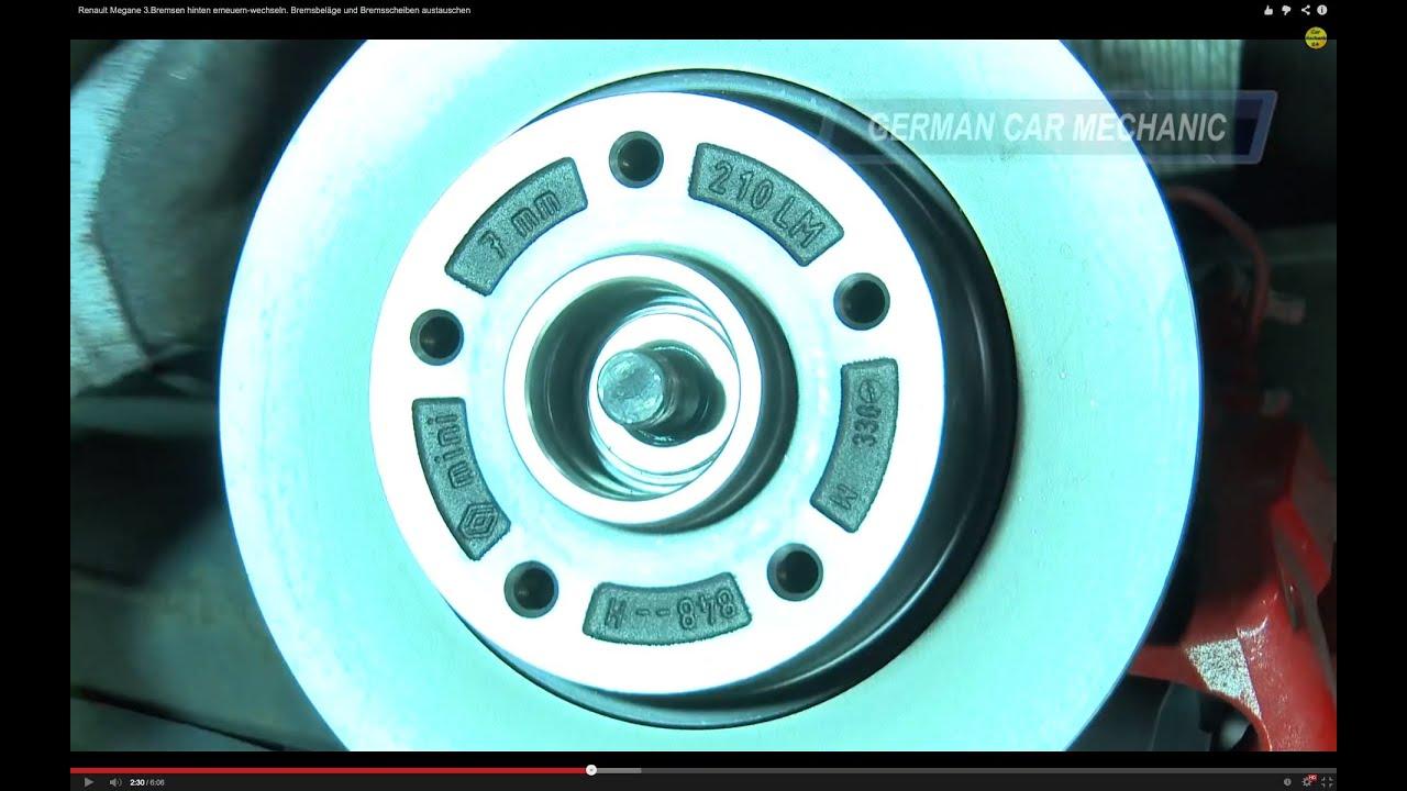 renault megane 3 bremsen hinten wechseln bremsbel ge. Black Bedroom Furniture Sets. Home Design Ideas