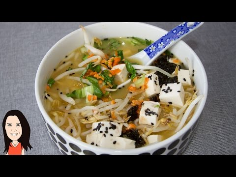 Asian Vegetable Miso Soup Bowl - 2 Minute Recipe!