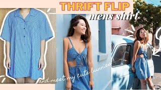 THRIFT FLIP- DIY Mens Shirt into Summer Outfit **Ft My Real Life Easter Bunnies*