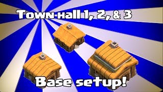 Lets play Clash of clans - Town hall 1, 2 & 3 Base layouts (speed build)