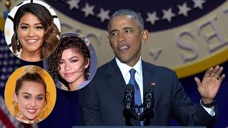 Celebs React To President Obama's EMOTIONAL Farewell Speech - Where was Sasha?