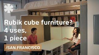 Rubik cube flat flips office, storage, dining & bedroom in SF