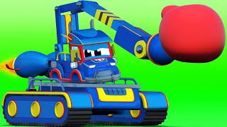 Truck videos for kids -  Super JACKHAMMER saves his friends with his SUPER REACTORS - Super Truck !