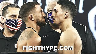 TEOFIMO LOPEZ STEPS TO LOMACHENKO, WHO GETS ALL IN HIS FACE; BREAK PROTOCOL DURING INTENSE FACE OFF