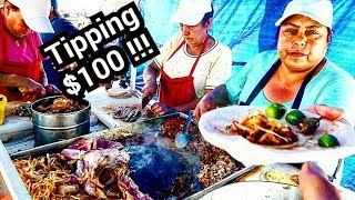 """TIPPING $100 Dollars In Mexico - Mexican Street Food TACOS """"El Tio"""" - - BEST Street Tacos EVER!!!!"""