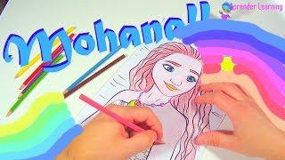 Coloreando Moana Vaiana - Learning colors in Spanish Aprendiendo colores en inglés fast version