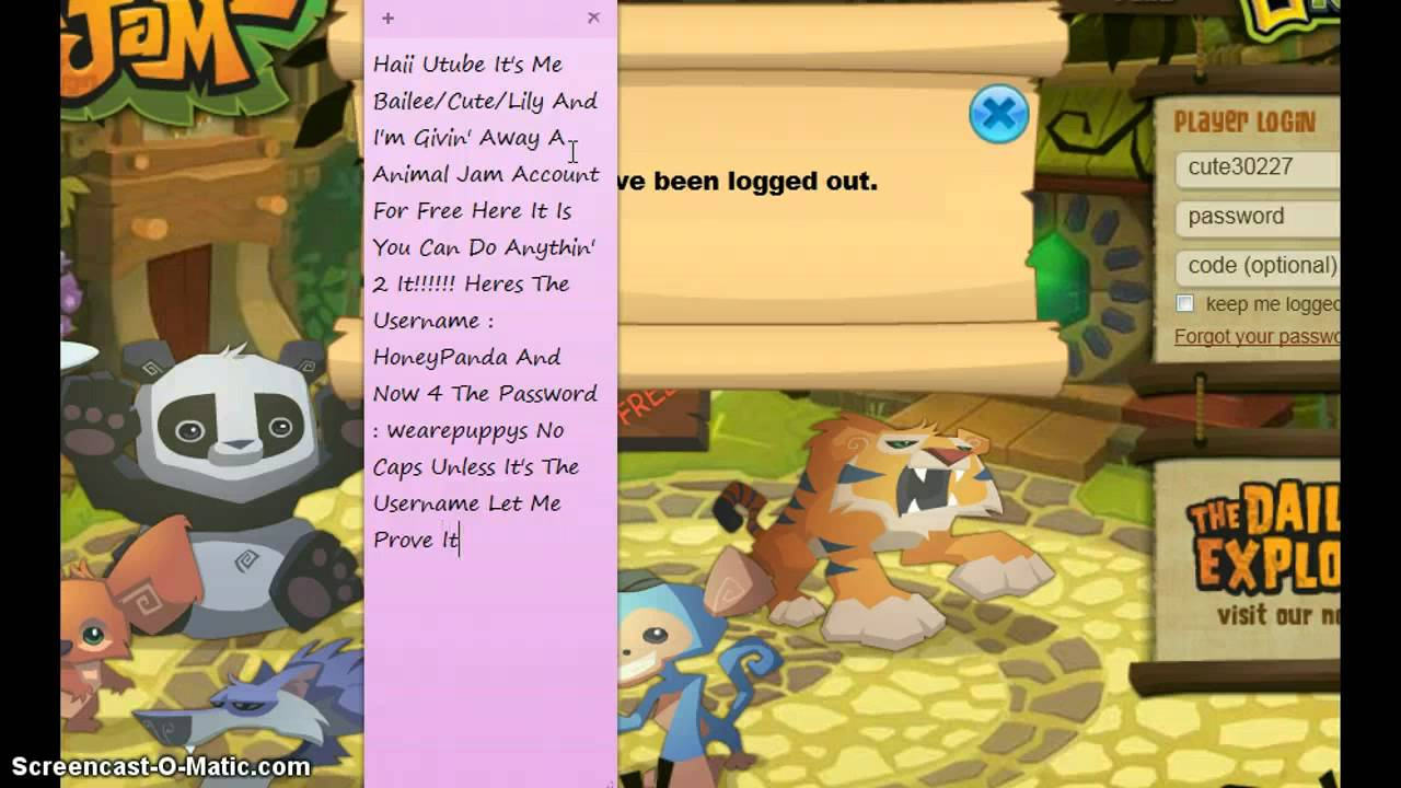 Animal jam Free Membership accounts