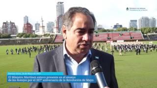 El Ministro Martínez estuvo presente en el ensayo de los festejos por el 207° aniversario de la Revolución de mayo