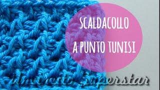 Scaldacollo Uncinetto Punto Tunisi Traforato Tunisian Lace Stitch