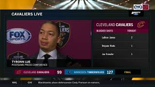 Tyronn Lue believes offense dictated defense in Cleveland's blowout loss l CAVS-WOLVES POSTGAME