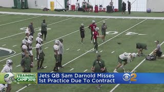 Jets QB Sam Darnold Misses First Practice Over Contract Dispute